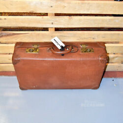 Suitcase Cintage Vulcanized Brown With Tags Rome On Side 14 5/8x23