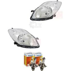 Headlight Set For Toyota Yaris Nlp9 Year 01/09- Incl. Motor H4 Incl. Lamps