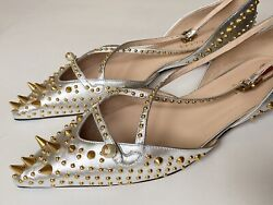 And039uniaand039 Gold Studded Silver Leather Dand039orsay Flats Sz Eu 40 Us 10 1300