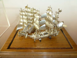 Rare Antique / Vintage Solid Sterling Silver Two Ships In Original Display Case