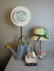 Vintage Floral Display Hat And Antique Stand, Tea Cup And Holder, Pitcher W/ Plates