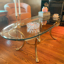Vtg Hollywood Regency Brass Swan Foot Coffee Table Labarge Italy Glass Top