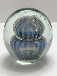 Eickholt Large Double Jellyfish Blue Opalescent Paperweight Excellent Condition