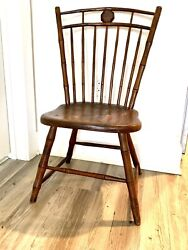 Early American Seven Railandnbsp Bamboo-turned Birdcage Windsor Side Chair Circa 1800