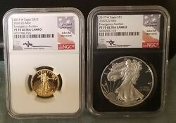 2017 W Eagle G10 And S1 2020 Us Mint Emergency Auction Mercanti Signed 2 Coins
