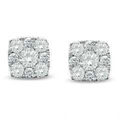 1/2 Ct Natural Diamond Square Cluster Stud Earrings In 10k White Gold
