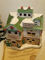 Lefton Colonial Christmas Village Johnson's Antiques Quilts Vintage 1987 Lighted