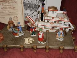 Lefton Andldquocolonial Villageandrdquo Christmas Musical Showboat And Figurines 7pc 11266