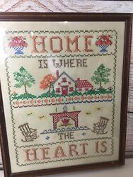 Vintage Completed Framed Cross Stitch Needlepoint Home Is Where The Heart Is