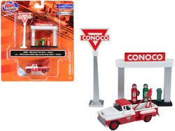 1955 Chevrolet Tow Truck Service Station Sign Gas Pump Island Conoco 1/87