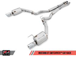 Awe Tuning Switchpath Exhaust 2015-2017 Ford Mustang Gt   Diamond Black Tips
