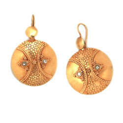 Natural Diamond Hook Dangle Earrings 18k Yellow Gold Mothers Day Gift Jewelry