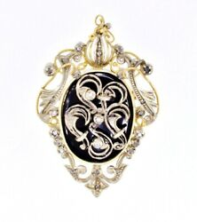 Brooch Black Onyx And Diamond Vintage Pendant 14k Yellow Gold And Sterling .50 Ctw