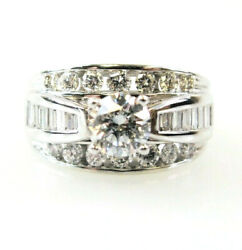 Ring Diamond 3 Row Round And Baguette Engagement .89 Ctw 14k White Gold Size 6.5