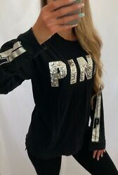 PINK Victoria#x27;s Secret VS Black Silver Bling Campus Long Sleeve Top Shirt Small $44.99