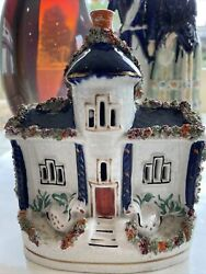 staffordshire figurine antique Cottage House With Swans