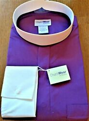 Murphy Menand039s Purple Clergy Neckband Shirt With French Cuffs And Collar