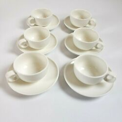 6 Crate And Barrel Demitasse Espresso Cup Saucer Coffee Sets Porcelain 12 Pc