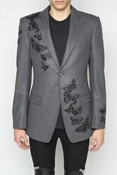 Alexander Mcqueen Embroidered Blazer Mens 40 Butterfly Italy Wool 3900 New