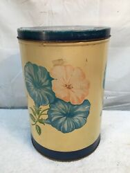 """Vtg 1951 Wise Potato Chips 11"""" Tin Floral Morning Glory Flowers 1950s Nice"""