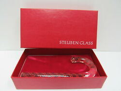 Vintage Steuben Glass Crystal Candy Cane 1980's Made In Usa Nib