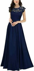 Miusol Women#x27;s Formal Floral Lace Evening Party Maxi A navy Blue Size XX Large $14.00