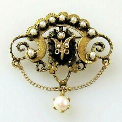 Brooch White Rose Pearl And Black Onyx Pendant Antique 14k Yellow Gold