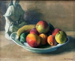 Ivan Olinsky, Still Life W/ Chinese Porcelain Figurine And Fruits, O/c Painting, C