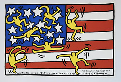 Keith Haring Signed 1988 American Music Festival Poster New York City Ballet