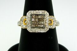 Ring Diamond Brown And White Square Illusion Halo .90 Ctw 14k Yellow Gold Size 7