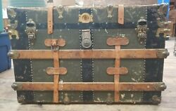 Antique Steamer Trunk Metal With Tray Insert 22 Tall 34 Long 17.5 Deep Oldie