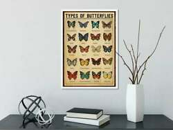 Types Of Butterflies Poster Vintage Wall Art Home Decor Poster