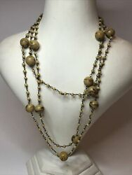 1930s Millefiori Bead Necklace Wired Flapper Style Vintage Cream Glass Beaded