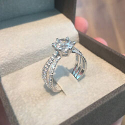 2.60 Ct Diamond Engagement Wedding Ring 925 Sterling Silver Rings Size 5 6 7 8 9