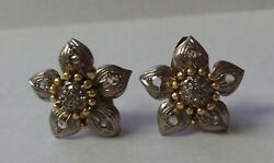 Beautiful Antique 14k White And Yellow Gold Diamond Flower Earrings 14.5g 22mm