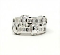 Ring Diamond 2 Row Baguette Station Stacked Band 1.00 Ctw 18k White Gold Sz 5.5