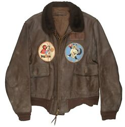 Brown Leather Bomber Flight Jacket W Painted Patches Named Navy Pilot Usn