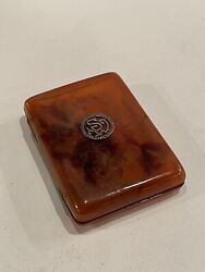 Circa 1910 Faux Tortoise Early Plastic Cigarette Case Or Business Card Holder