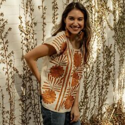 Mexican Hand Embroidered Boho Blouse Peasant Hippie Floral Top Folk Oaxaca Top