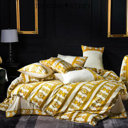 4 Pcs Luxury Bedding Set Chic Golden Stripe Embroidery Duvet Cover Bed Set Warm