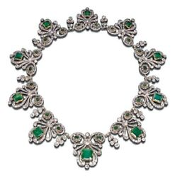 Antique Emerald Necklace Solid 925 Sterling Silver Graduated Design Jewelry