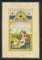 Indian Miniature Painting Of Mughal Emperor And Empress Romantic Scene On Paper