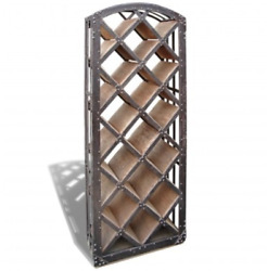 C Andndash Wood Wine Rack With Wrought Iron. A3033