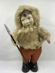 Beautiful Antique 1920and039s Hand Painted Face Oil Cloth Eskimo Doll Rare