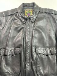 Midway Flight Bomber Jacket Super Soft Butter Black Leather Mens Size 50