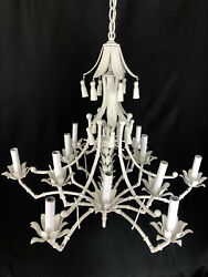 1950s Mid Century Hollywood Regency Style Faux Bamboo Tole 12 Light Chandelier