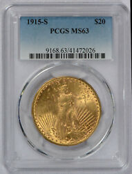 1915 S Us Gold 20 Saint-gaudens Double Eagle - Pcgs Ms63 Free Shipping