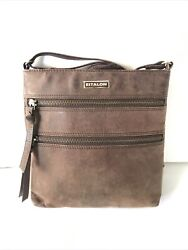 Estalon Shoulder Bag Nubuck Leather Messenger Crossbody Women Handbag Brown $24.00