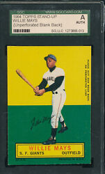 Unperforated Error Sgc Authentic Willie Mays 1964 Topps Stand-up Proof V-tphlc