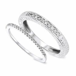 0.33 Carat Round Cut Diamond His And Hers Wedding Band Set Solid 14k White Gold